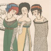Les robes de Paul Poiret racontées par Paul Iribe, Paris, Paul Poiret, [1908], bibliothèque de l'INHA, 4 Est 619 (détail). Cliché INHA