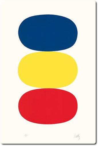 Ellsworth Kelly :  Bleu et jaune et rouge-orange [Blue and Yellow and Red-Orange] (AX17), 1964-1965, lithographie sur papier Rives BFK, EA (éd. 75), 89,5 X 60,3 cm. Image courtesy Ellsworth Kelly Studio © Ellsworth Kelly Foundation et Maeght éditeur