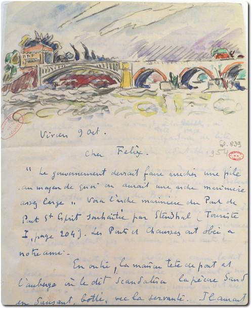 Paul Signac, Lettre autographe signée à Félix Fénéon, 1930, bibliothèque de l'INHA, BCMN Ms 310. Cliché INHA
