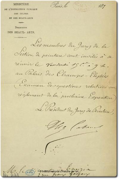 Alexandre Cabanel, Note d'Alexandre Cabanel au comte de Tauzia, bibliothèque de l'INHA,  BCMN, Ms 273 (05). Cliché INHA
