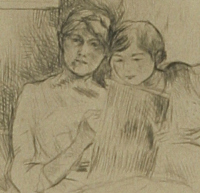Portrait de Berthe Morizot et sa fille. Paris, Bibliothèque de l'Institut national d'histoire de l'art, collections Jacques Doucet, EM MORISOT 3. Cliché INHA