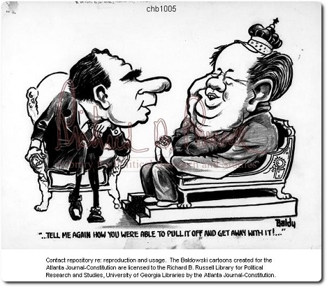 Clifford Baldowski, Tell me again how you were able to pull it off and get away with it, caricature, 22 février 1976, Clifford H. (Baldy) Baldowski Editorial Cartoon Collection.